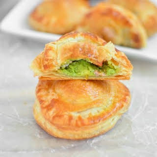 Avocado, Goat Cheese and Sausage Puff Pastry Pockets.