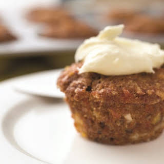 Sweet Morning Glory Muffins with Dairy-Free Cream Cheese Frosting.