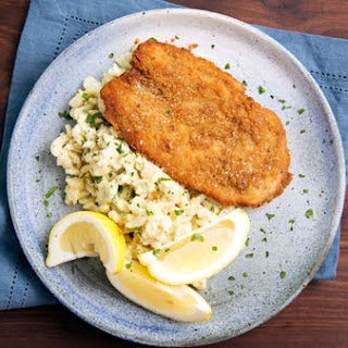 Brown Buttered Cheesy Spaetzle with Pretzel Crumb Coated Chicken Schnitzel Recipe