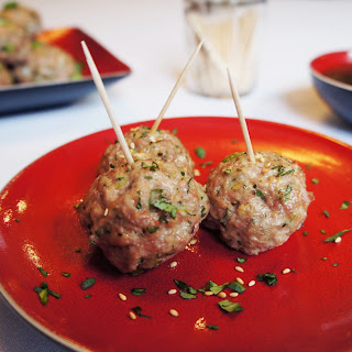 Asian Inspired Meatballs With Ginger Lime Dipping Sauce.