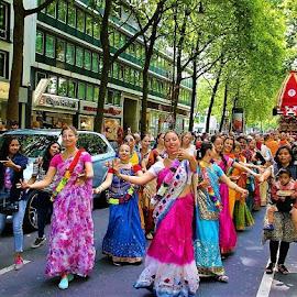 Ratha Yatra by Svetlana Saenkova - City,  Street & Park  Street Scenes ( vedic, vaishnavism, dancing, procession, chariot, public holiday, cologne, köln, colourful, ratha yatra, women,  )