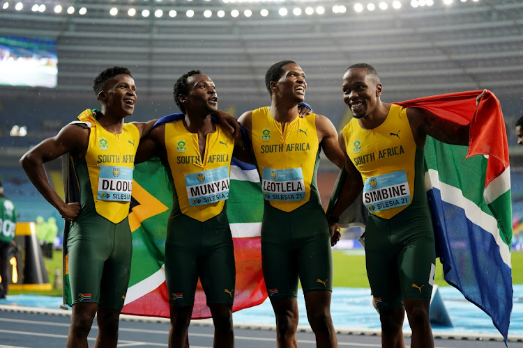 South Africa's Thando Dlodlo. Tlotliso Gift Leotlela, Clarence Munyai and Akani Simbine celebrate winning the men's 4x400m relay final in the Athletics World Relays Championships at Silesian Stadium, Chorzow, Poland on May 2, 2021