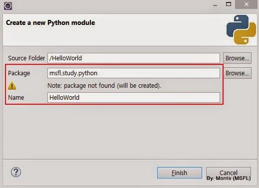 PyDev New Module Info
