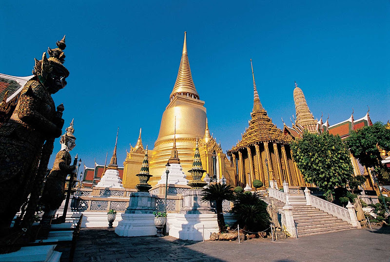The Temple of the Emerald Buddha is on the grounds of the Grand Palace in Bangkok, Thailand.