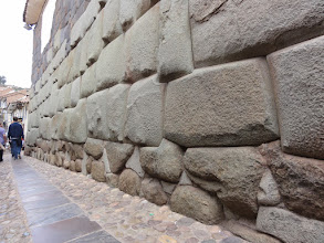 Photo: Different type of megalithic wall built like all of those type without any mortar. The stones are more irregular, but you cannot fit a razor blade in the joints. The hidden contact surfaces between the stones within the wall are mostly perfect fits without any filling or space in between. You find the exact same construction technology in the oldest Egyptian temples like in Giza and Abydos. That's different to Greek or Roman mortarless walls where the hidden stones surfaces are of concave shape with only the edges touching (anathyrosis).