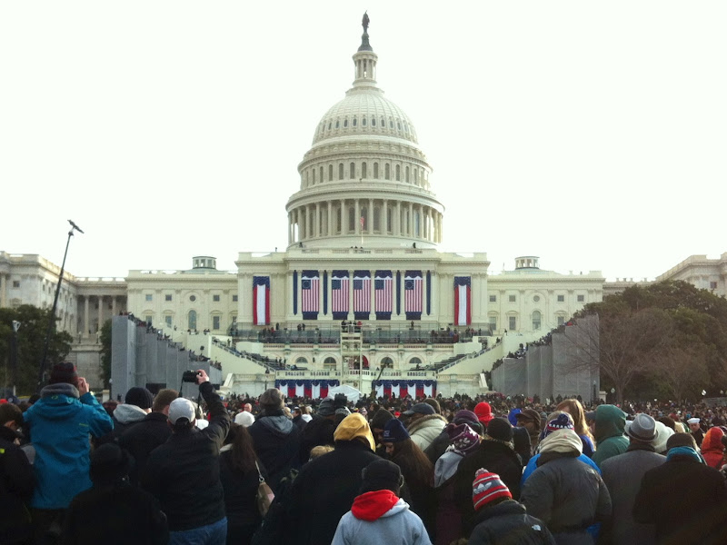 Photo: View from the crowd of the US Capitol at the 2013 Inaugural Ceremonies.