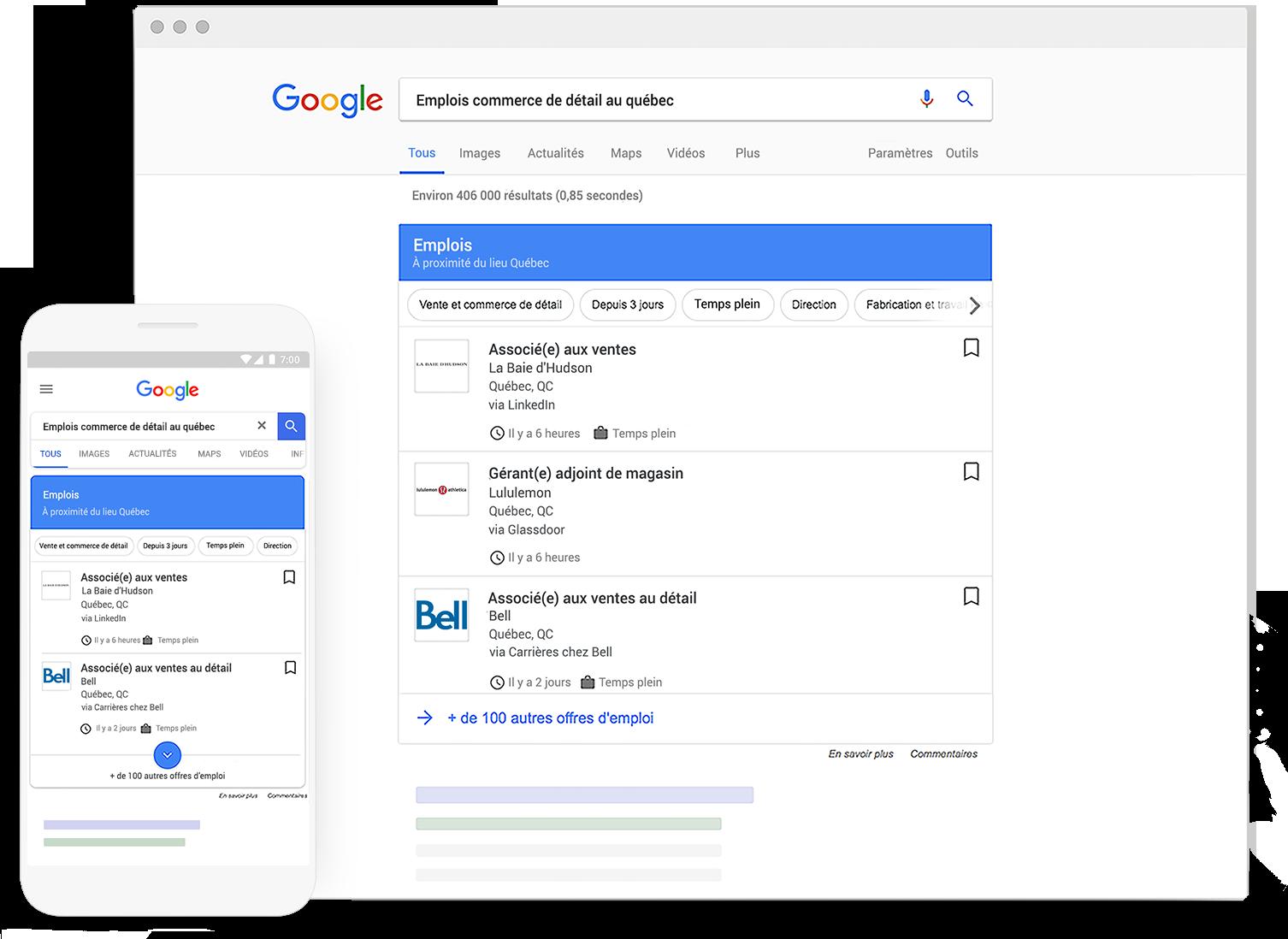Diffusez vos offres auprès de millions de personnes en recherche d'emploi qui consultent Google chaque jour.