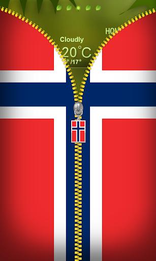 Norway Flag Zipper Lockscreen