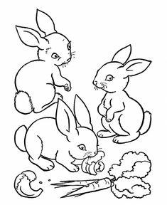 Little bunnies valentine coloring page