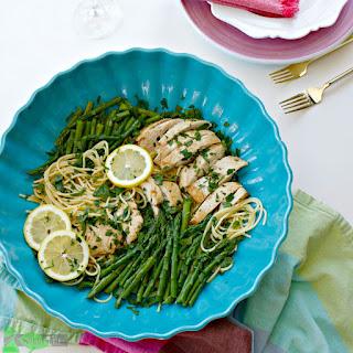 Healthy Asparagus Chicken Pasta Recipe, with Lemon, Gluten Free Option Recipe