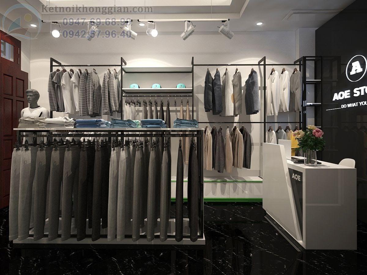 thiêt kế shop thời trang nam đẹp, thiết kế cửa hàng quần áo