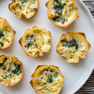 Spinach Artichoke Mini Quiches with Crispy Wonton Crusts