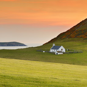 Wales by Paweł Prus - Landscapes Travel ( wales church hill sunset sky )