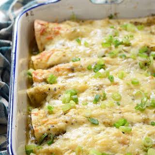 Creamy Chicken and Kale Enchiladas with Salsa Verde.