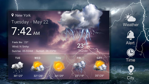Home screen clock and weather,world weather radar for PC