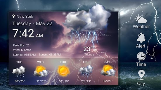 Home screen clock and weather,world weather radar- screenshot thumbnail