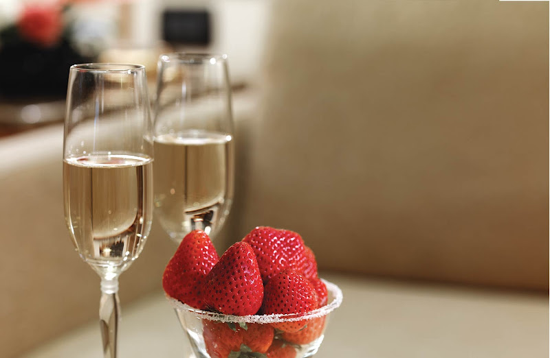 Champagne and strawberries served on a Cunard Line cruise.