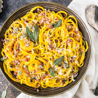 Butternut Squash Noodle Carbonara with Pancetta & Sage.