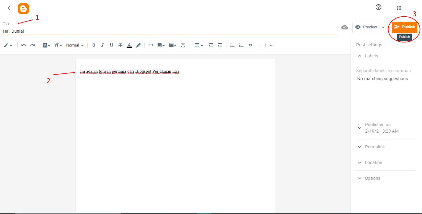 Membuat postingan blog di Blogspot.