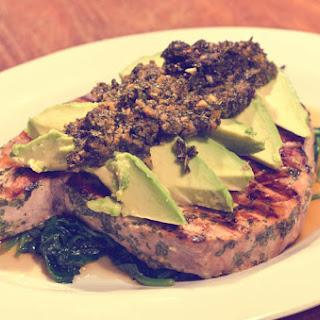 Tuna Steak With Avocado And Cilantro Marinade.