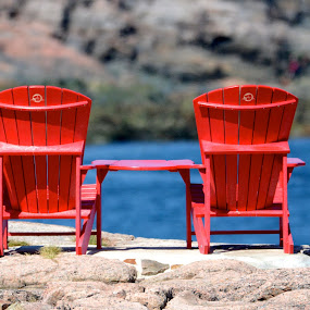 waiting for by Jean-Pierre Machet - Artistic Objects Furniture ( nature, chairs, color red,  )