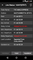 Screenshot of Indian Train Status