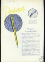 Photo: By 1924, Eversharp were still the clear market leader, in pens and especially pencils. They had a brand new factory, five stories high with seven acres of floor space, with, according to their own publicity, a daily production capacity of: 50,000 pencils, 8,000 pens and 1.3m sticks of lead!  That's a lot of writing that could be accomodated.  The Perfected Pencil in the advert shown had just been introduced. This was still a propel-only mechanism,  very similar to the original version; the cone was lengthened (which gives rise to a simple means of determining pencils pre/post this date).