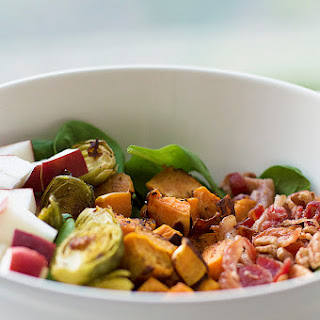 Roasted Vegetable Salad With Bacon, Brussels And Maple Dressing