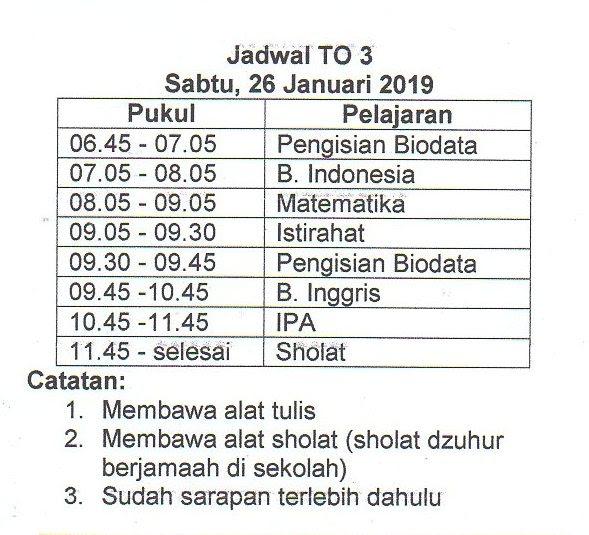 JADWAL TO 3 DAN AGENDA KLS 9 SEMESTER GENAP 2018/2019