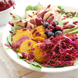 Golden Beet Salad with Blueberry Lime Dressing.
