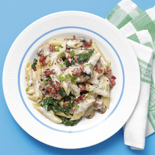 Creamy Penne with Bacon and Mushrooms.