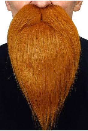Långt skägg med mustasch, rött