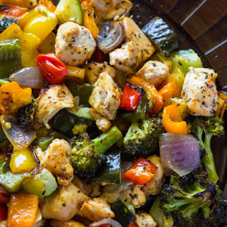 15 Minute Healthy Roasted Chicken and Veggies (One Pan).