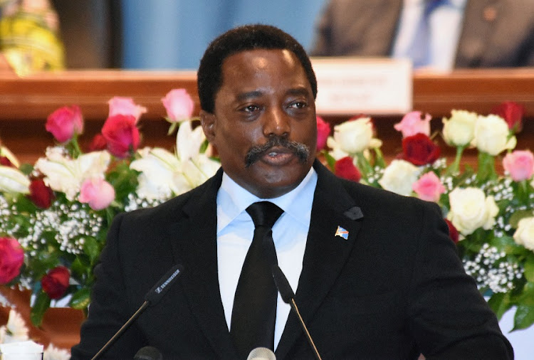 Democratic Republic of Congo's President Joseph Kabila addresses the nation at Palais du Peuple in Kinshasa, Democratic Republic of Congo earlier this month. Picture: REUTERS/KENNY KATOMBE