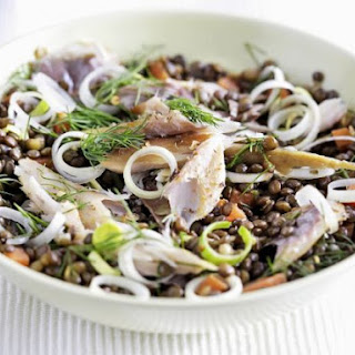 Bowl of Lentils with Flaked Fish and Leek