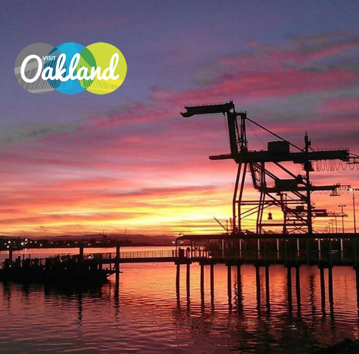 Sunset over the Oakland Harbor.