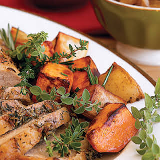 Roasted Sweet and White Potatoes with Rosemary.