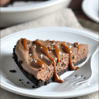 Chocolate Mousse Pie with Caramel Drizzle and Sea Salt.