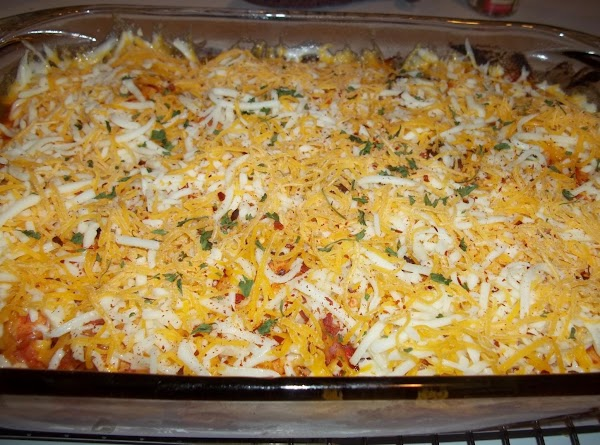 Remove from oven and add the cheese. ( I sprinkled with hot pepper flakes...