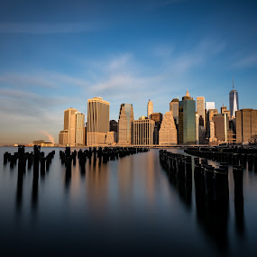Manhattan by Stig Johansson - City,  Street & Park  Skylines ( skyline, long exposure, manhattan, sunrise, sun, city )