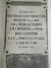 Photo: Sign posted at the University of Catania marking a visit by various royals in 1909