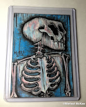 Photo: Calaveras #42. 2.5 x 3.5 inches or 6 cm x 9 cm. Watercolors and ink on 100 lb. acid-free Bristol paper. Signed on the front; title and signature on the back. Sealed with a matte finish. Comes in a clear rigid plastic top-loader. ©Marisol McKee.