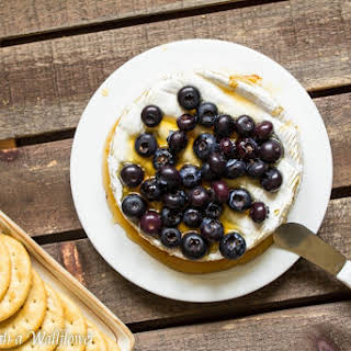Brie Baked with Honey and Blueberries.