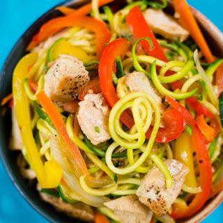 Sesame Chicken Zucchini Chow Mein
