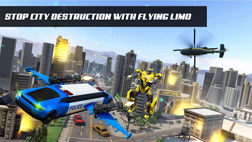 Flying Police Limo Car Robot: flying car games screenshot 1
