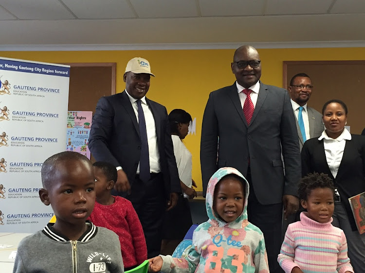 Provincial education MEC Panyaza Lesufi and Gauteng Premier David Makhura. Picture: NEO GOBA