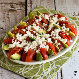 Tomato, Avocado, and Feta Salad with Tahini-Balsamic Vinaigrette.