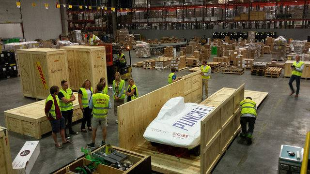 Belgian Solar car is shipped to Australia for World Challenge