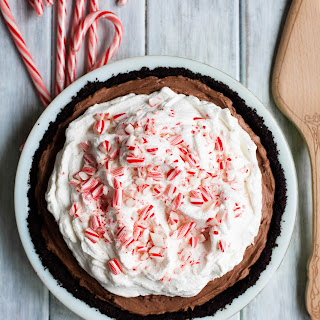 No-Bake Double Chocolate Cheesecake Pie with Peppermint Whipped Cream