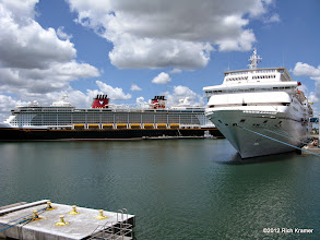 Photo: From our balcony in Port Canaveral, the Disney Dream and Carnival Sensation were also boarding.
